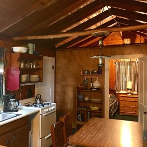 Full kitchen with dining table